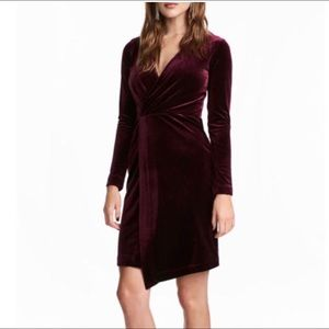 NWT H&M Burgundy Velvet Dress